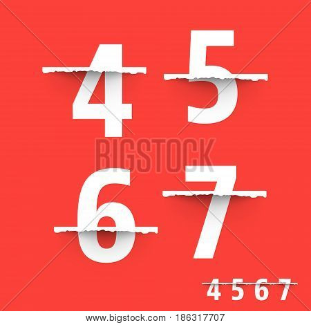 Alphabet font template. Set of numbers 4 5 6 7 logo or icon Vector illustration