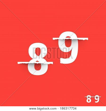 Alphabet font template. Set of numbers 8, 9 logo or icon. Vector illustration.