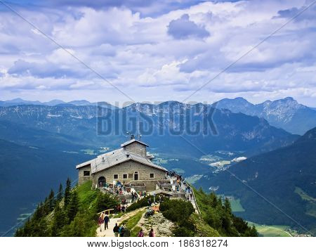 Bavaria, Germany -Jule 8, 2015: Kehlsteinhaus. The Eagle's nest in the Bavarian Alps. Gift for the anniversary of Hitler