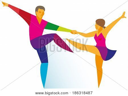 Professional Young Couple Dancing Demonstrates Their Skills In Rock And Roll