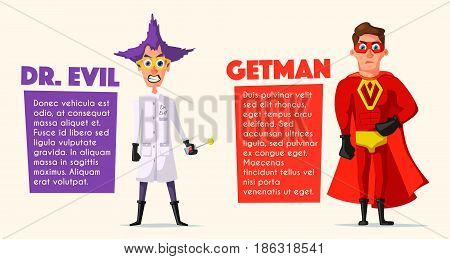 Set of evil superhero. Cartoon vector illustratration. Characters in uniform. For banners and posters. Bad men. Hero person.