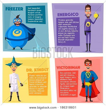 Set of superhero. Cartoon vector illustration. Good people. Hero characters. Persons in cloak. Justice and help. For banners and posters.