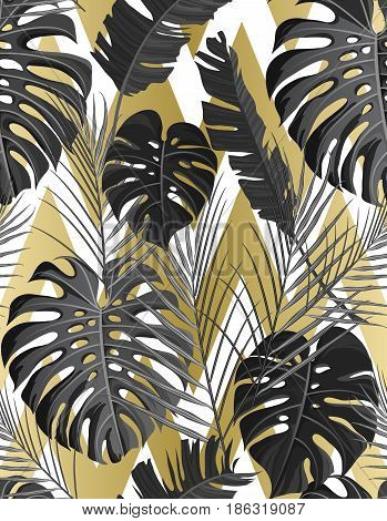 Seamless pattern with gold black white grayscale colored tropical exotic palm leaves on abstract geometric zigzag style background. Fabric, wrapping paper print. Vector illustration stock vector.