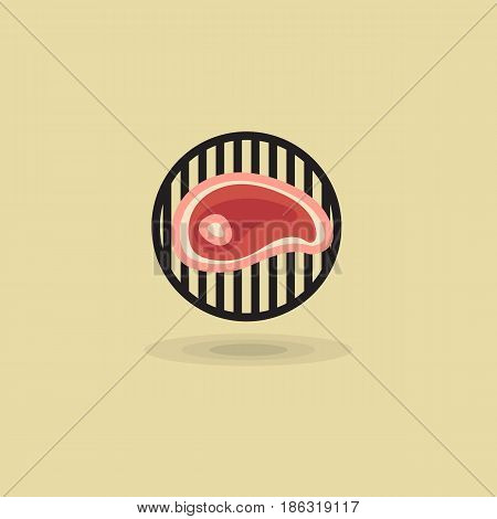Steak beef on grill barbecue vector icon. Illustration of meat on barbecue grill flat