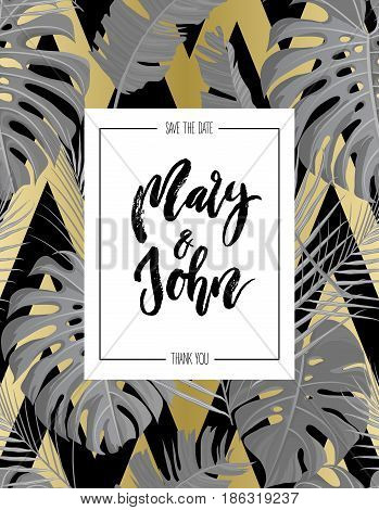 Tropical vertical design with gold black white grayscale colored exotic palm leaves seamless pattern and wedding save date invitation. Vector illustration stock vector.