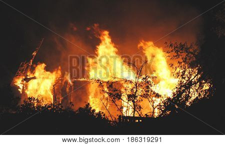 night house fire close up insurance case abstract