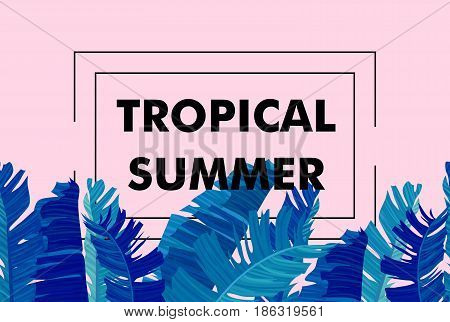 Seamless border with neon colored tropical exotic palm leaves on abstract pink blue style background and logo note tropical summer print. Vector illustration stock vector.