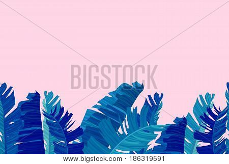 Seamless border with neon colored tropical exotic palm leaves on abstract pink blue style background. Fabric, wrapping paper print. Vector illustration stock vector.
