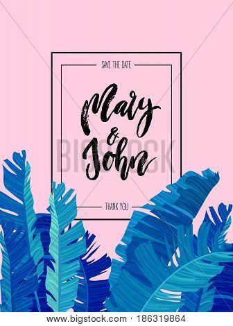 Tropical design with neon colored exotic palm leaves on abstract pink blue style background and wedding save date invitation. Fabric, wrapping paper print. Vector illustration stock vector.