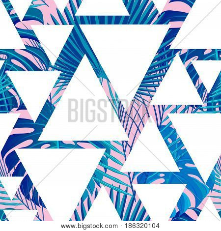 Seamless pattern with neon colored tropical exotic palm leaves on abstract geometric triangular white pink blue style background. Fabric, wrapping paper print. Vector illustration stock vector.
