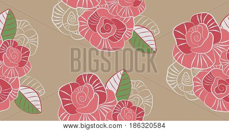 Decorative seamless pattern of the stylized pink roses on a beige background