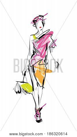 Fashion Model Vector Sketch