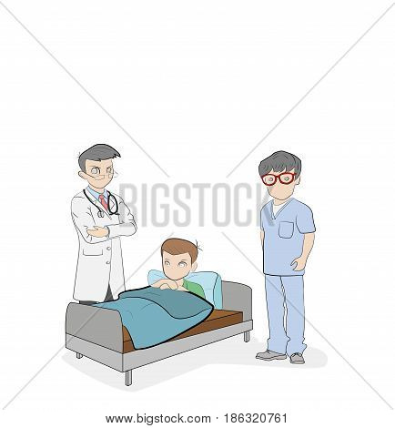 The doctor is at the patient's bed. Plot for medical topics. vector illustration.