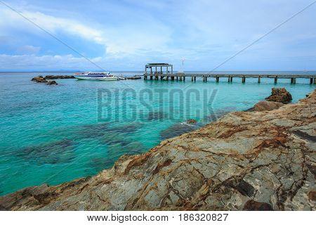 The harbor on mai-ton-islands phuket thailand .