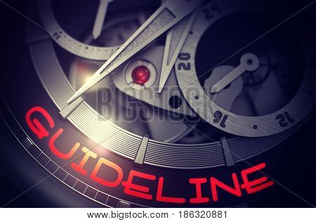 Guideline on the Men Wrist Watch, Chronograph Close Up. Gears and Mainspring in the Mechanism of a Watch with Guideline on Face of It. Time Concept with Glowing Light Effect. 3D Rendering.