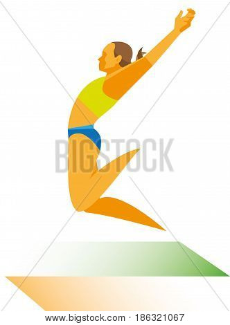 A young woman athlete in flight during a long jump attempt