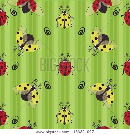Ladybugs. Red and yellow. Seamless pattern. Ladybug on the striped background, the character from children's cartoons. Design for textiles, tapestries, packaging, environmental poster.