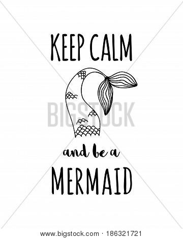 Hand drawn mermaid tale with text