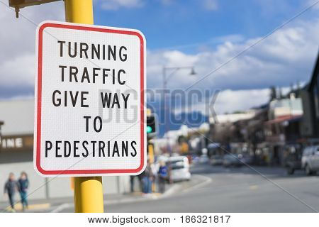 give way to pedestrian sign, close up