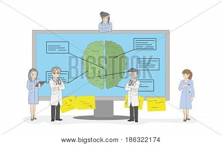 Sketch of the work of small people near the monitor with a picture of the human brain A medical team discusses the diagnosis. Hand drawn cartoon vector illustration for medical design and infographics
