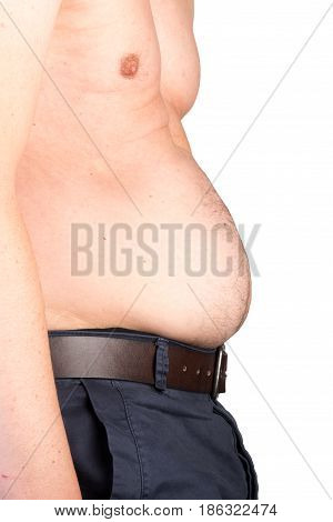 View of a the belly of a overweighted male - isolated on white background