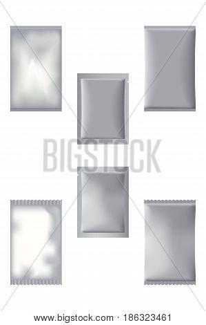 3D Photorealistic Set Of Sachet Bags. Six Full Silver Sachets For Design.