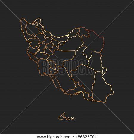 Iran Region Map: Golden Gradient Outline On Dark Background. Detailed Map Of Iran Regions. Vector Il