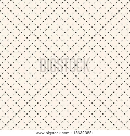 Vector seamless pattern. Stylish geometric minimalist texture with simple elements, diagonal lines. Repeat abstract background. Illustration of mesh, lattice. Design for prints, decor, fabric, cloth, textile