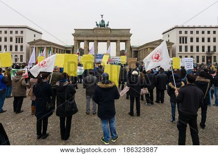 BERLIN - NOVEMBER 30 2015: The protest of the Iranian opposition in the center of Berlin near the Brandenburg Gate.