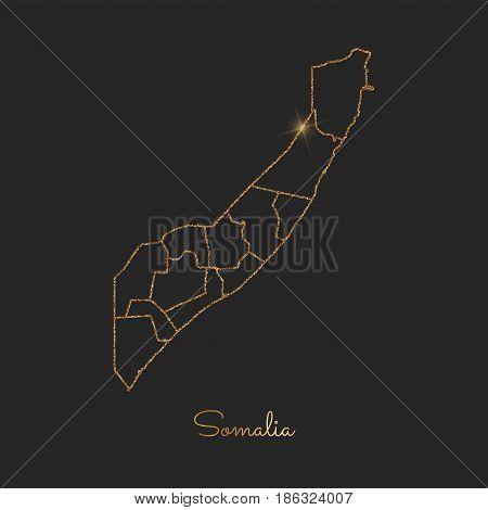 Somalia Region Map: Golden Glitter Outline With Sparkling Stars On Dark Background. Detailed Map Of