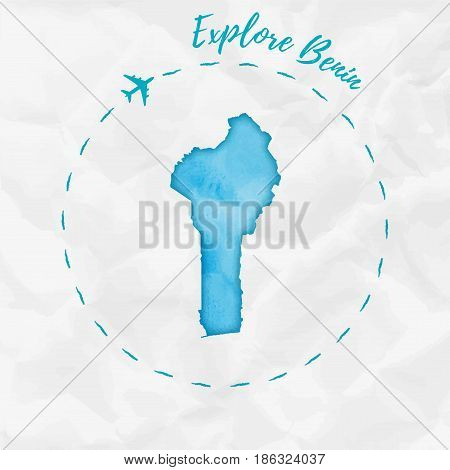 Benin Watercolor Map In Turquoise Colors. Explore Benin Poster With Airplane Trace And Handpainted W