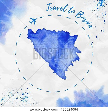 Bosnia Watercolor Map In Blue Colors. Travel To Bosnia Poster With Airplane Trace And Handpainted Wa