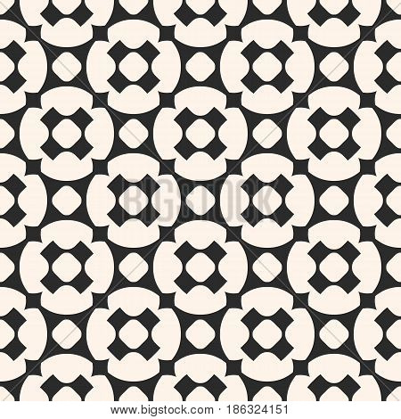 Monochrome seamless pattern, vector geometric texture with circles, rounded crosses, diagonal grid. Stylish geometrical abstract background, repeat tiles. Square contrast design for prints, decor, web, fabric, cloth
