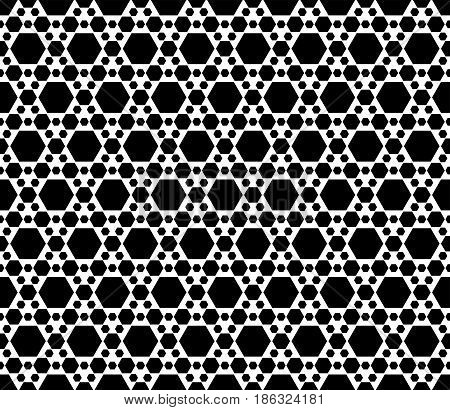 Vector monochrome texture, black & white geometric seamless pattern with different sized hexagons, repeat hexagonal grid. Simple abstract backdrop for print, decor, textile, fabric, furniture, package