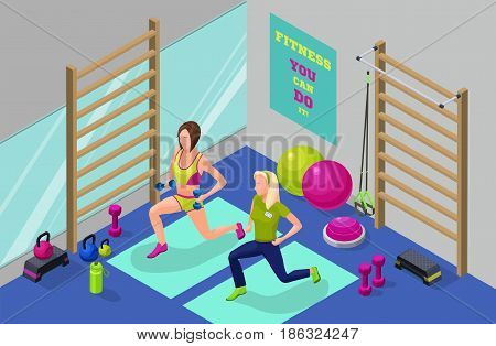 Fitness workout infographic isometric illustration with girl and personal trainer at gym with dumbbells, suspension belts, balls, step platform vector illustration