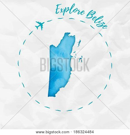 Belize Watercolor Map In Turquoise Colors. Explore Belize Poster With Airplane Trace And Handpainted