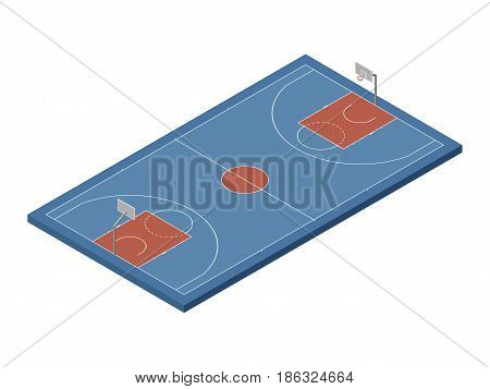 3D isometric basketball court with official dimensions, blue & orange colors. Sport theme vector illustration, athletic field, playground, stadium. Perspective view. Isolated editable design element