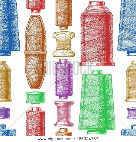 Seamless color pattern with sewing thread bobbins. Vector illustration in vintage engraved style on white background.