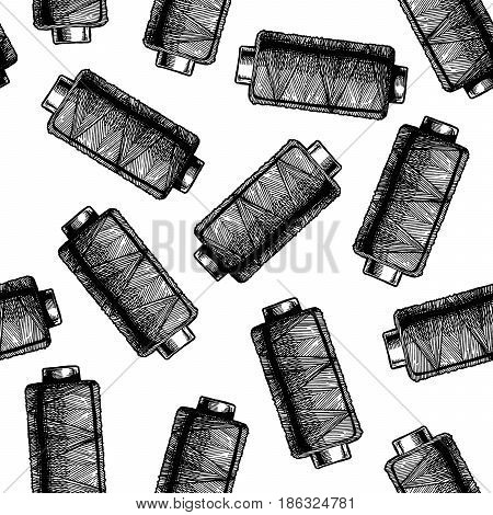 Seamless black-and-white pattern with sewing thread bobbins. Vector illustration in vintage engraved style on white background.