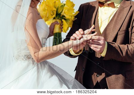 Groom Wearing Wedding Ring On The Bride's Finger. Bride And Groom Wearing Rings Each Other. Wedding