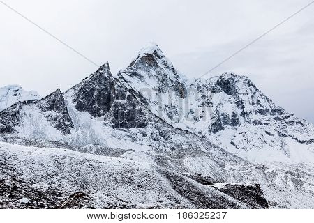 Dramatic Mountain View Of Ama Dablam After A Heawy Snowfall On The Famous Everest Base Camp Trek In