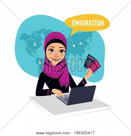 Arab woman sitting at table in office and working for laptop. Woman draws up documents for emigration. Emigration concept.