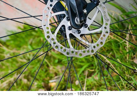 Part of the wheel and bicycle spokes on a background of green grass