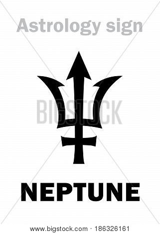 Astrology Alphabet: NEPTUNE (Poseidon's trident) higher global planet. Hieroglyphics character sign (single symbol).