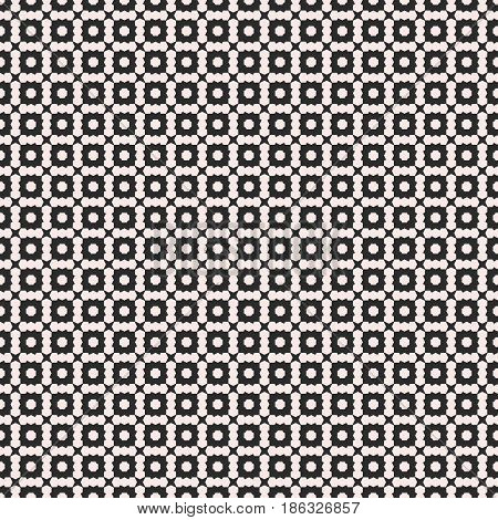 Vector seamless texture, deco art pattern. Monochrome illustration with simple small geometric shapes. Abstract black & white background, repeat tiles. Design element for prints, digital, web, covers, textile, fabric