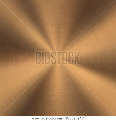 Bronze metal technology background with polished, brushed circular texture, chrome, silver, steel, copper, rust for design concepts, web, posters, wallpapers and prints. Vector illustration.