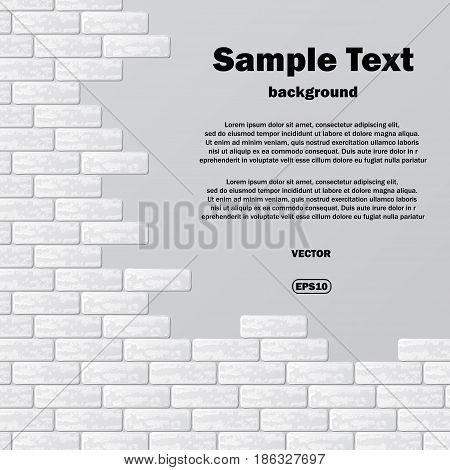 Abstract background with gray brick wall and sample text