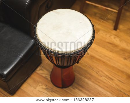 Top angle of an African djembe drum.