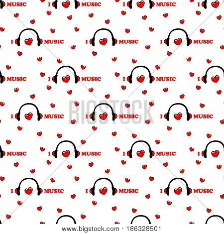seamless pattern with symbol of music with Headphones and heart . vector