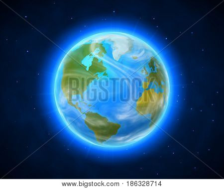 Blue shining vector Earth on space background